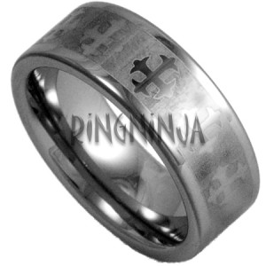 8mm tungsten wedding ring w laser etched celtic cross pattern silver color