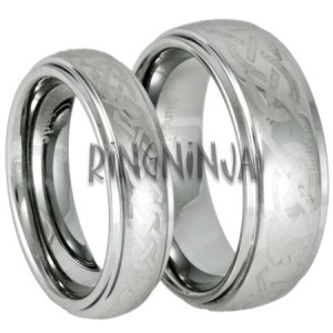 His and Hers Laser Etched Celtic Knot Tungsten Wedding Band Set